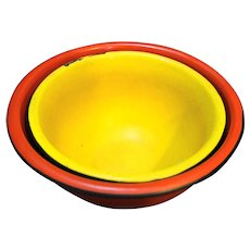 Yellow Red Enamel Mixing Bowls Nesting Pair Vintage