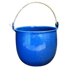Royal Blue White Speckled Graniteware Bucket Pail Wire Bale Handle