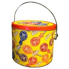 Tootsie Roll Pop Yellow Vintage Tin Pail Bucket 1997 Vintage