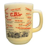 Fire King C.B.'er White Milk Glass Mug