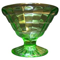 Hocking Block Optic Green Sherbet Champagne