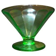 Federal Glass Green Depression Paneled Sherbet