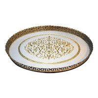 Filigree Gold Tone Floral Oval Dresser Tray