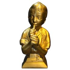 Chalkware Bust Bookend Boy Playing Flute Gold Esco Products E. Villanis
