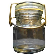 Wire Bale Clear Glass Canning Jar Tiny 4 oz