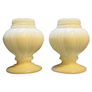 Milk Glass Ribbed Bulbous Shakers No Lids