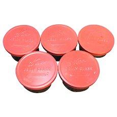 Kerr Glass Jelly Jars Red Metal Lids Set of 5