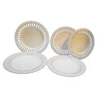 Milk Glass Lace Edge Pierced Rim Plates 7 Pieces