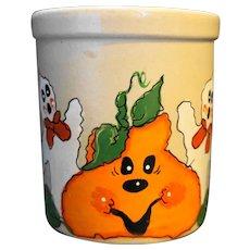 RRP Co Robinson Ransbottom Hand Painted 1 Qt Crock Halloween Ghost Pumpkin