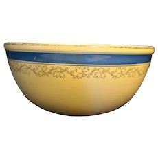 Homer Laughlin Turquoise Blue Band Yellow Ware Mixing Bowl Gold Ivy 9 1/2 IN