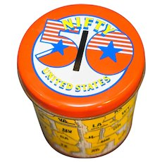 50 Nifty United States Tin Bank Canister