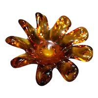 Amber Art Glass Flower Twisted Petals Ashtray Candy Dish