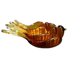 Blenko Amber Glass Nesting Birds Set of 3