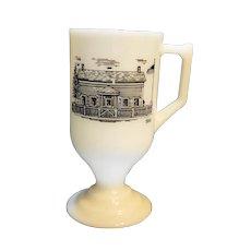 White Milk Glass Irish Coffee Mug Black Building 1844