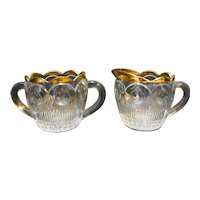 US Glass Manhattan EAPG Gold Trim Cream Sugar