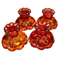 Amberina Scalloped Foot Candle Holders