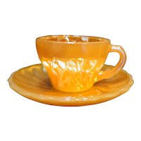 Peach Lustre Shell Demitasse Cup Saucer Fire King