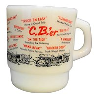 Fire King C.B.'er White Milk Glass Stacking Mug
