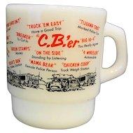 Fire King C.B.'er White Milk Glass Stacking Mug