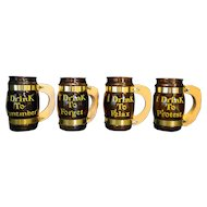 Drink To Remember Drink To Forget Amber Glass Barrel Mugs Wood Handles