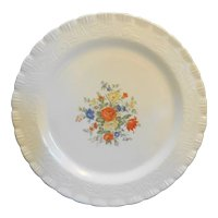 MacBeth Evans Chinex Classic Floral Decal Sandwich Cake Plate 12 IN