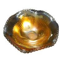 Jeannette Anniversary Marigold Iridescent Candy Dish Bowl
