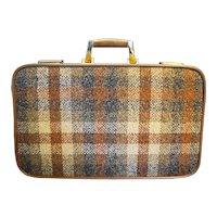 York Luggage Invicta Plaid Tweed Brown Suitcase