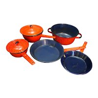 Red White Graniteware Blue Enamel Interior Pots Pans Set 7 Pieces