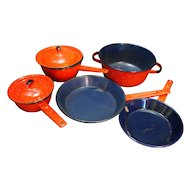 Red White Graniteware Blue Enamel Interior Pots Pans Set 7 Pieces