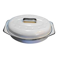 Powder Blue Black Trim Enamel Roaster Pan Small