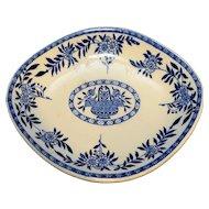 Sterling China York Kitchen Equipment Co Blue White Transferware Oval Dish