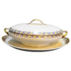 Marshall Field Union Ceramique Limoges France Blue Art Deco Covered Vegetable Tureen With Underplate Platter