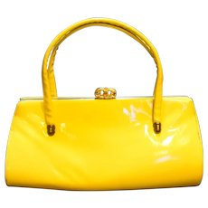Bright Yellow Vinyl Patent Shiny Purse Handbag