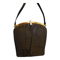 Mel-Ton Black Crepe Evening Bag Purse 1940-50s