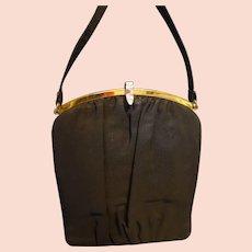 Mel-Ton Black Crepe Evening Bag Purse 1940-50s