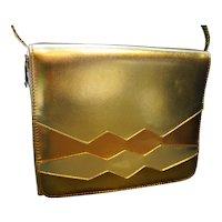 Gold Copper Bronze Metallic Vinyl Geometric Purse