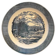 Royal China Currier & Ives Getting Ice Chop Plate Platter