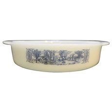 Currier & Ives Anchor Hocking Fire King Round Cake Pan Milk Glass