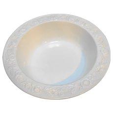 Anchor Hocking Vitrock White Milk Glass Flower Rim Serving Bowl 9 IN