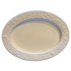 Vitrock White Milk Glass Depression Oval Platter Anchor Hocking 11 3/4 IN