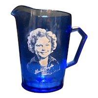 Shirley Temple Creamer Hazel Atlas Cobalt Ritz Blue Depression