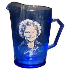 Shirley Temple Creamer Hazel Atlas Cobalt Ritz Blue Depression