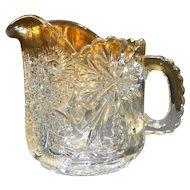 US Glass EAPG Snowflower Flower Fan Small Pitcher 1912