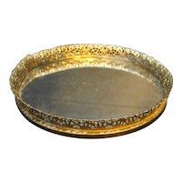 Round Mirror Filigree Vanity Dresser Tray 10 IN