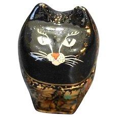 Lacquerware Cat Box Russian Matryoshka Doll Black Gold