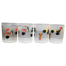 Dayton Hudson 1988 Santa Bear Mouse Musical Notes Plastic Tumblers