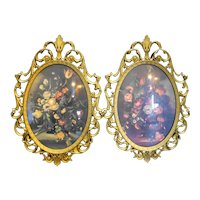 Ornate Italian Framed Floral Prints Curved Glass Ovals 10 x 7 IN