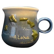 K&S Hawaiian Creations Handcrafted Mug Aloha Hawaii Map 1980s