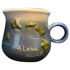 K&S Hawaiian Creations Handcrafted Mug Aloha Hawaii Map 1980s