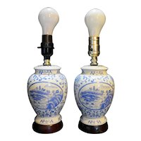 Blue White Hand Painted Porcelain Ginger Jar Style Lamps Pair